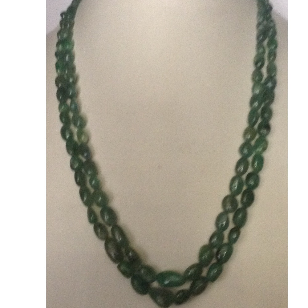 Natural green Transparent emeralds Oval tumbles 2 Layers Necklace