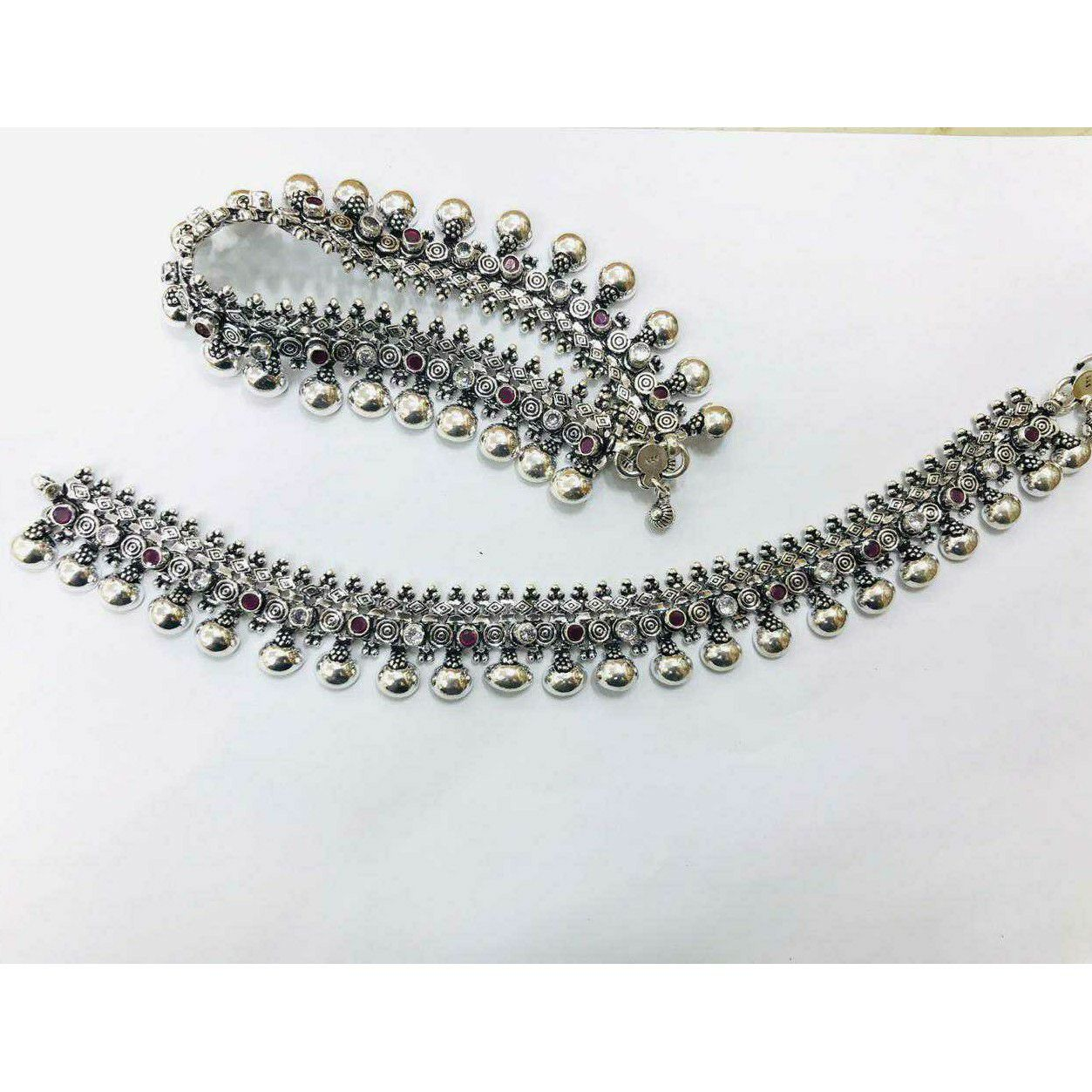 92.5 Sterling Silver Oval Dezine Ghughru Payal(Anklet) Ms-3807