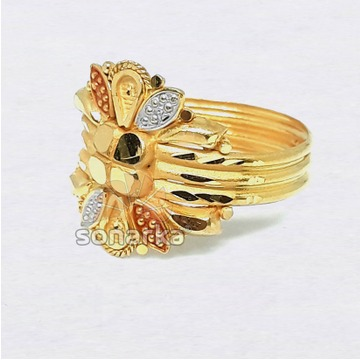 22kt Gold Hollow Triple Pipe Ring for Ladies