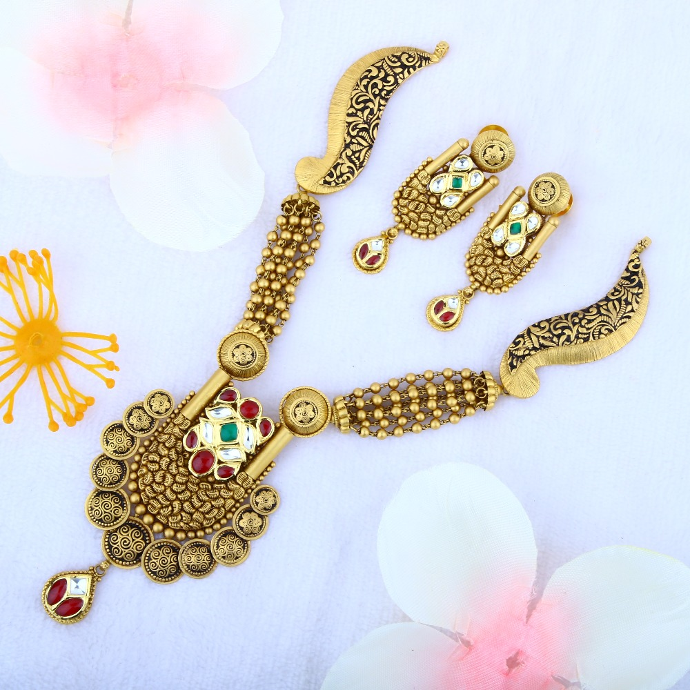 916 Gold Antique Jadtar Necklace Set STG - 0087