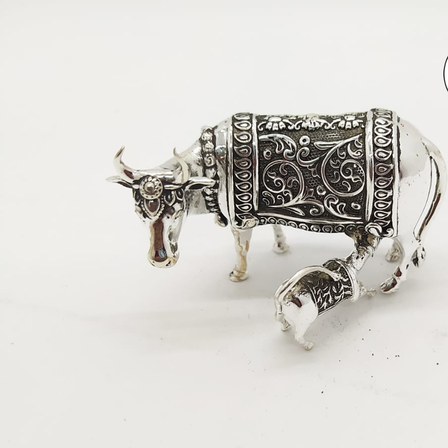 Silver cow and calf idol jys0030