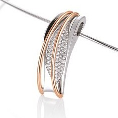 Designer rose two tone diamond pendant