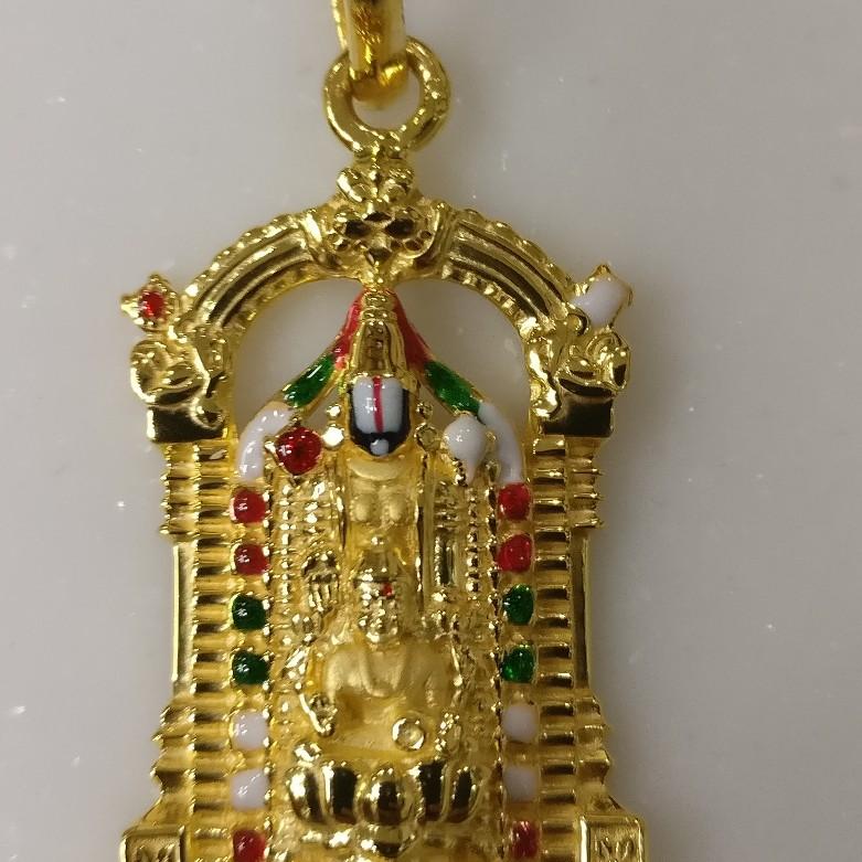916 gold god balaji pendant with laxmi