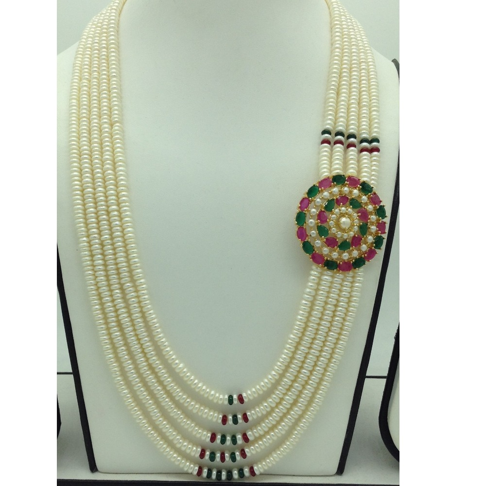 Red, GreenCZ and Pearls BroochSet With 5LinesPearls Mala JPS0668