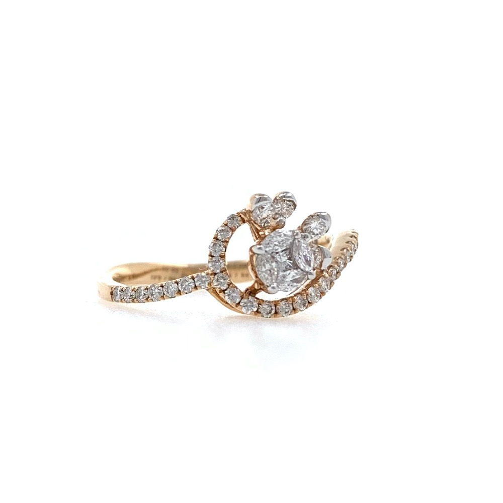 Charmante Diamond Ring delicately designed to give a feel of flower and Petals in 18k Rose Gold - VVS EF - 0.44 carats - 0LR67