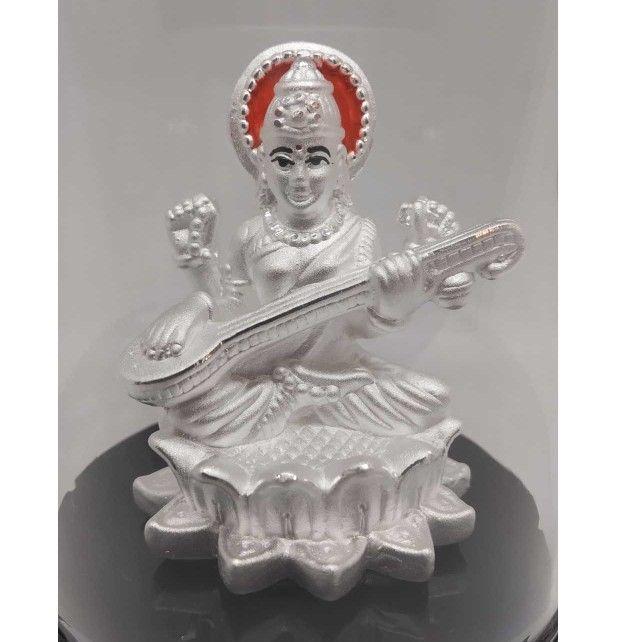 999 pure silver sarswati idols