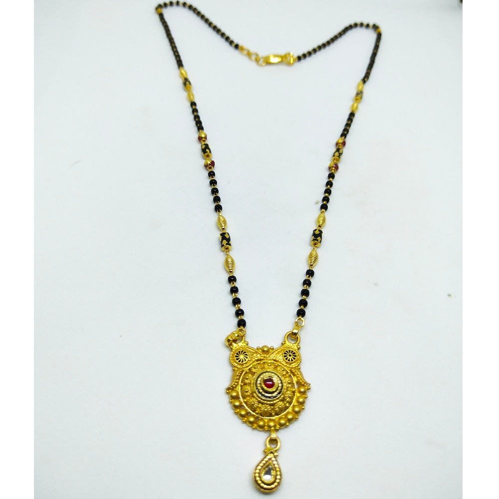 916 Single line mangalsutra with antique pendent