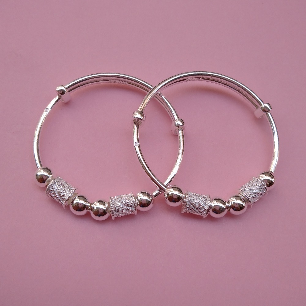 Puran Pure silver baby Kada with Hollow Balls & Drum charms (1 pair)