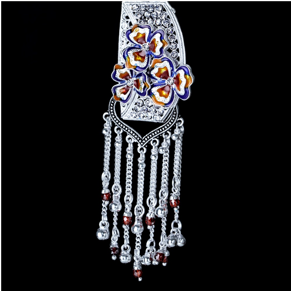 Silver Stylish Flower Design Latkan Juda