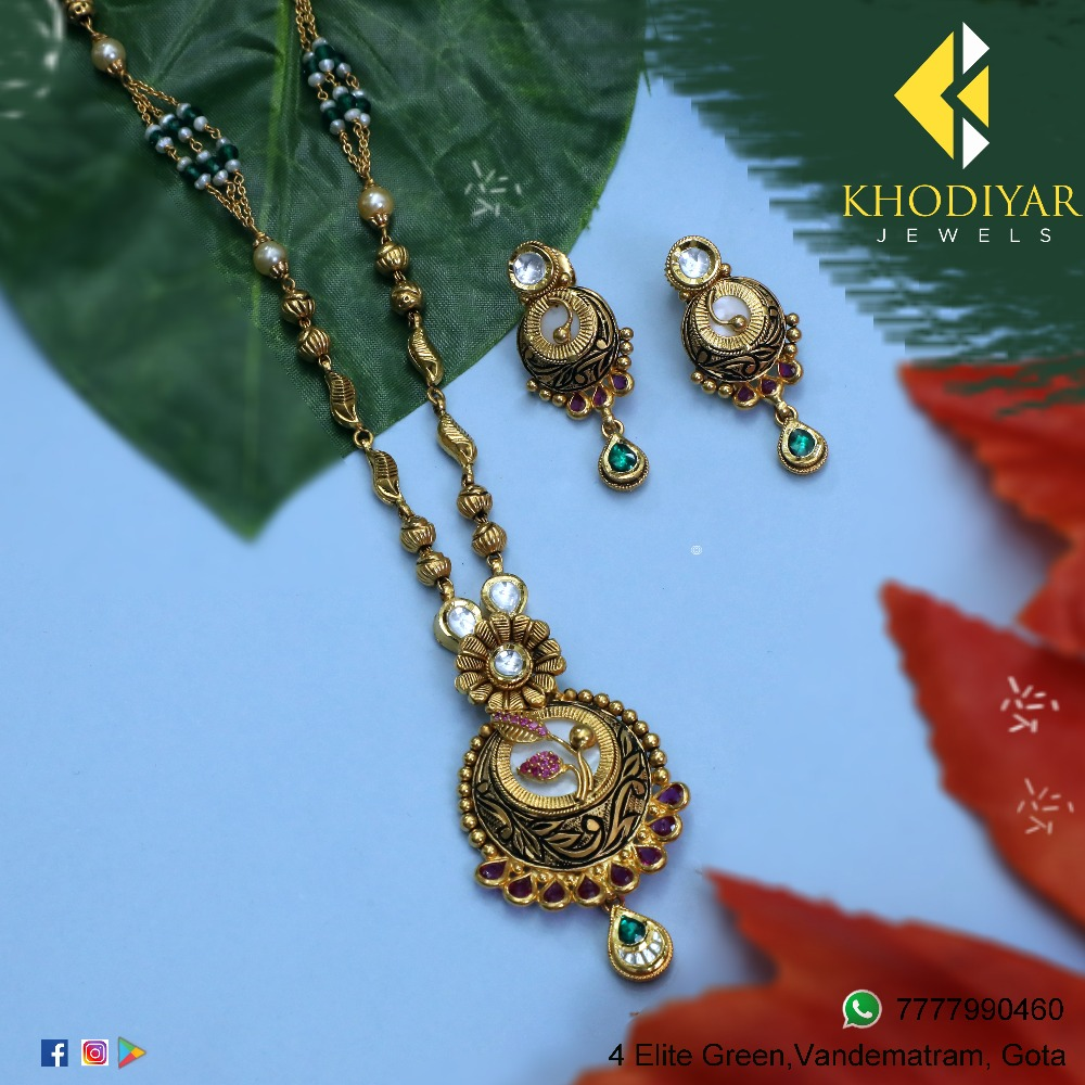 916 Gold Antique Long Necklace Set KJ-N009