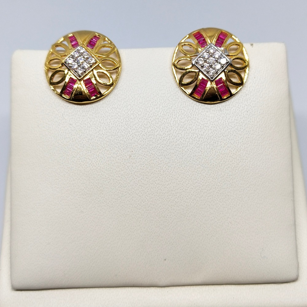 18Kt gold round shape colorful earring dj-e001