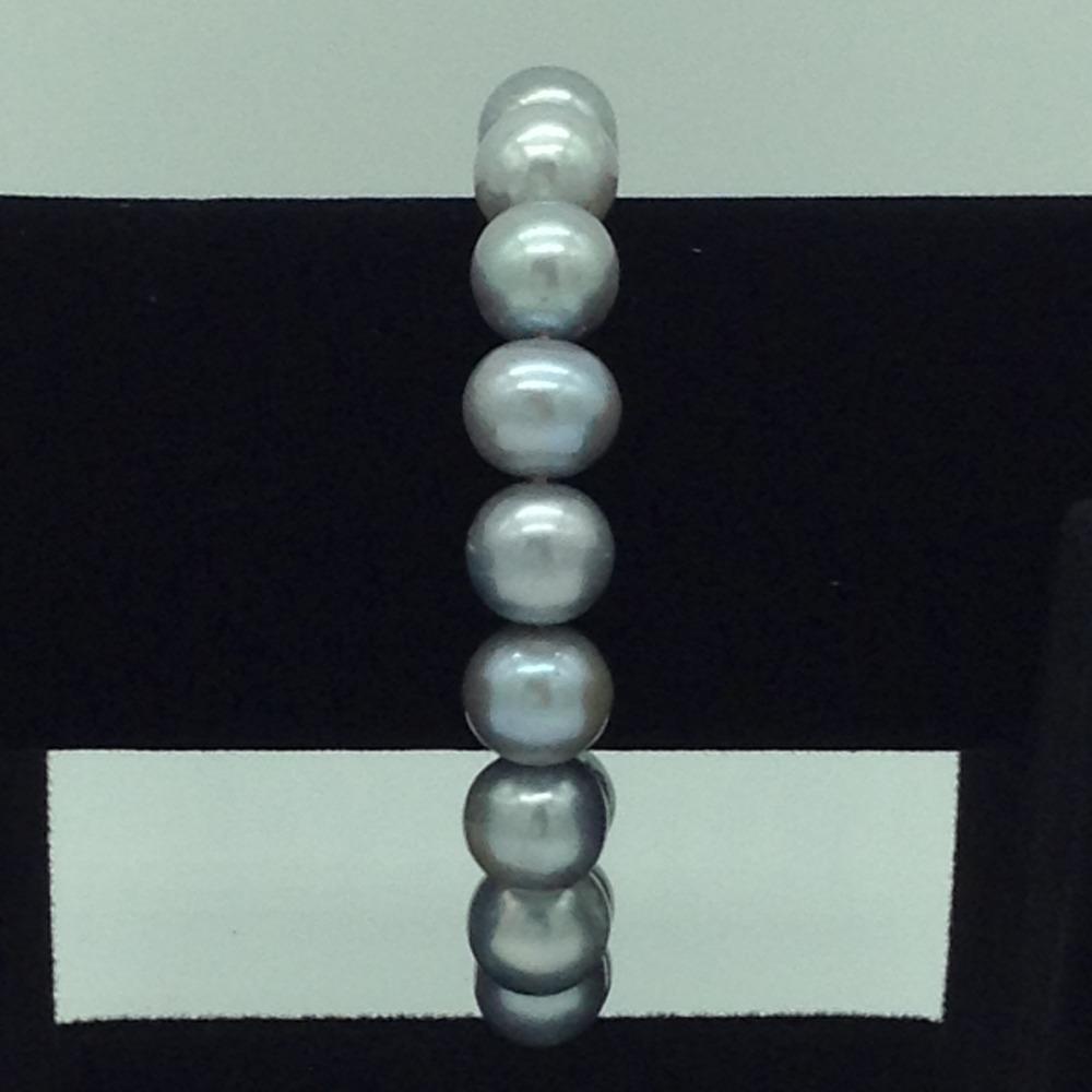 Grey RoundPearls 1Layer Elastic BraceletJBG0199