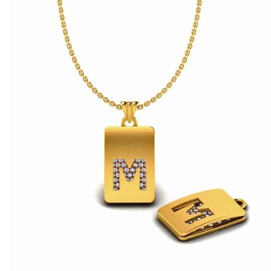 22KT Gold CZ M Alphabet Pendant Chain SO-P004
