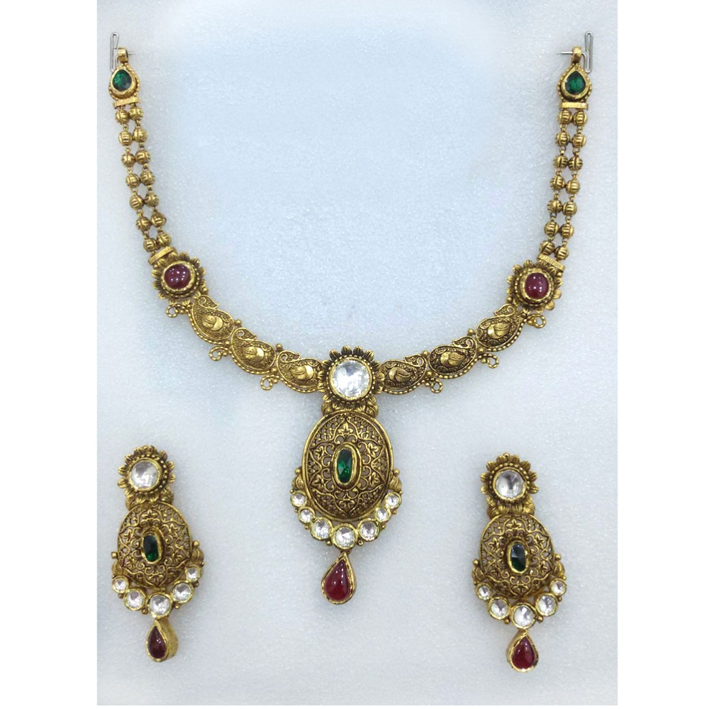 916 Gold Indian Bridal Necklace Set-013