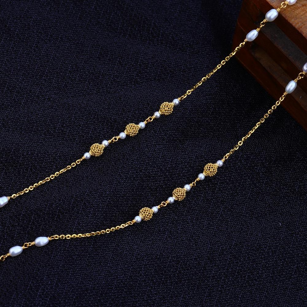 Ladies 22K Gold Designer White Chain Mala-AC66