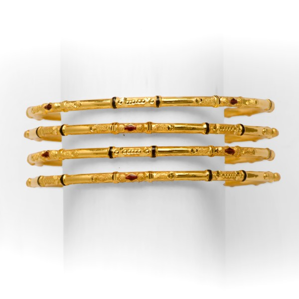 22KT/916 DESIGNER 4 PIPE GOLD COPPER KADLI BANGLE