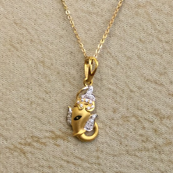 916 gold CZ Ganesh Design Pendant Chain
