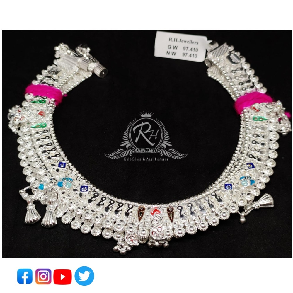 silver beautiful design bridal anklet payal RH-AP553
