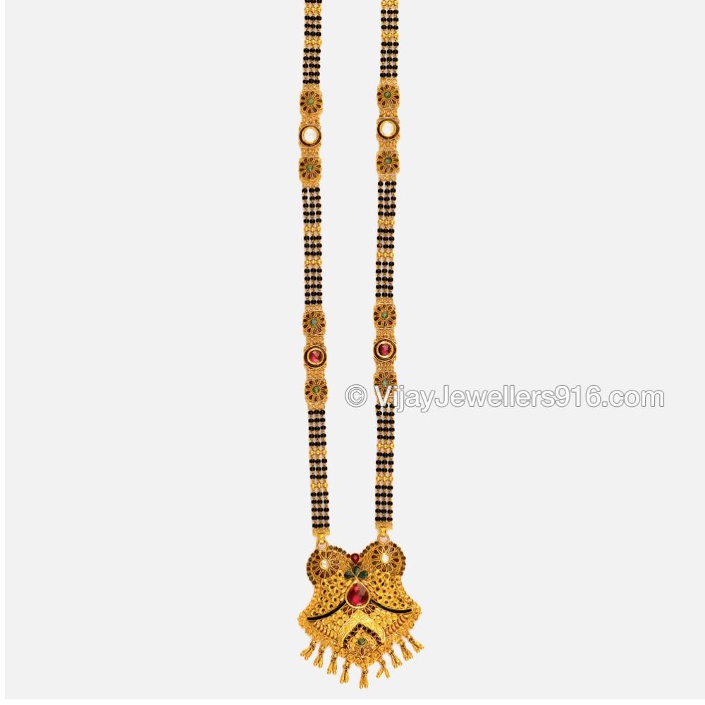22K Gold Antique Black Beads Mangalsutra