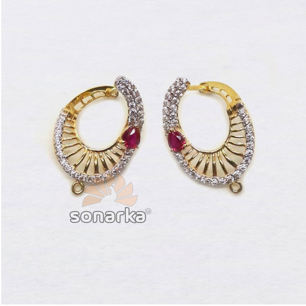 22KT Gold Oval Shaped CZ Diamond Hoop Earrings