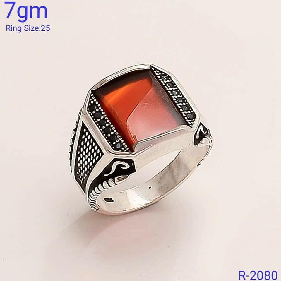 92.5 antique stone ring SL R054