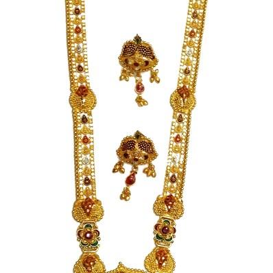 22k Rajwadi Flower Shape Necklace Set MGA - GLS044