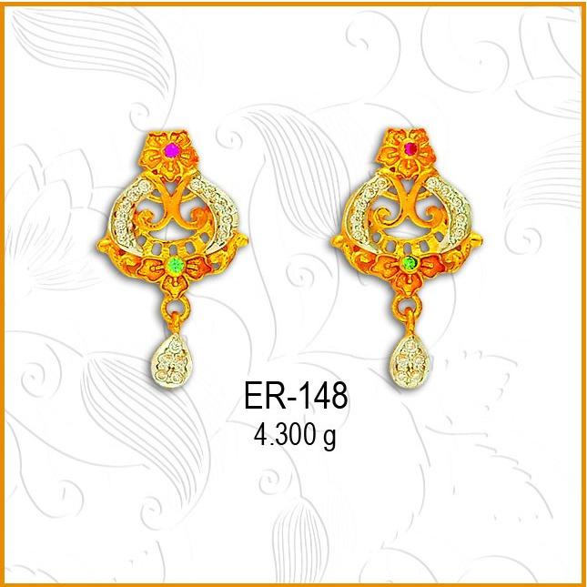 22kt Gold CZ Antique Earring ER-148