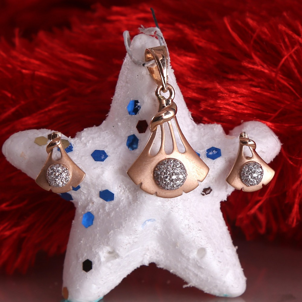 18ct rose gold cz daimond pendant set
