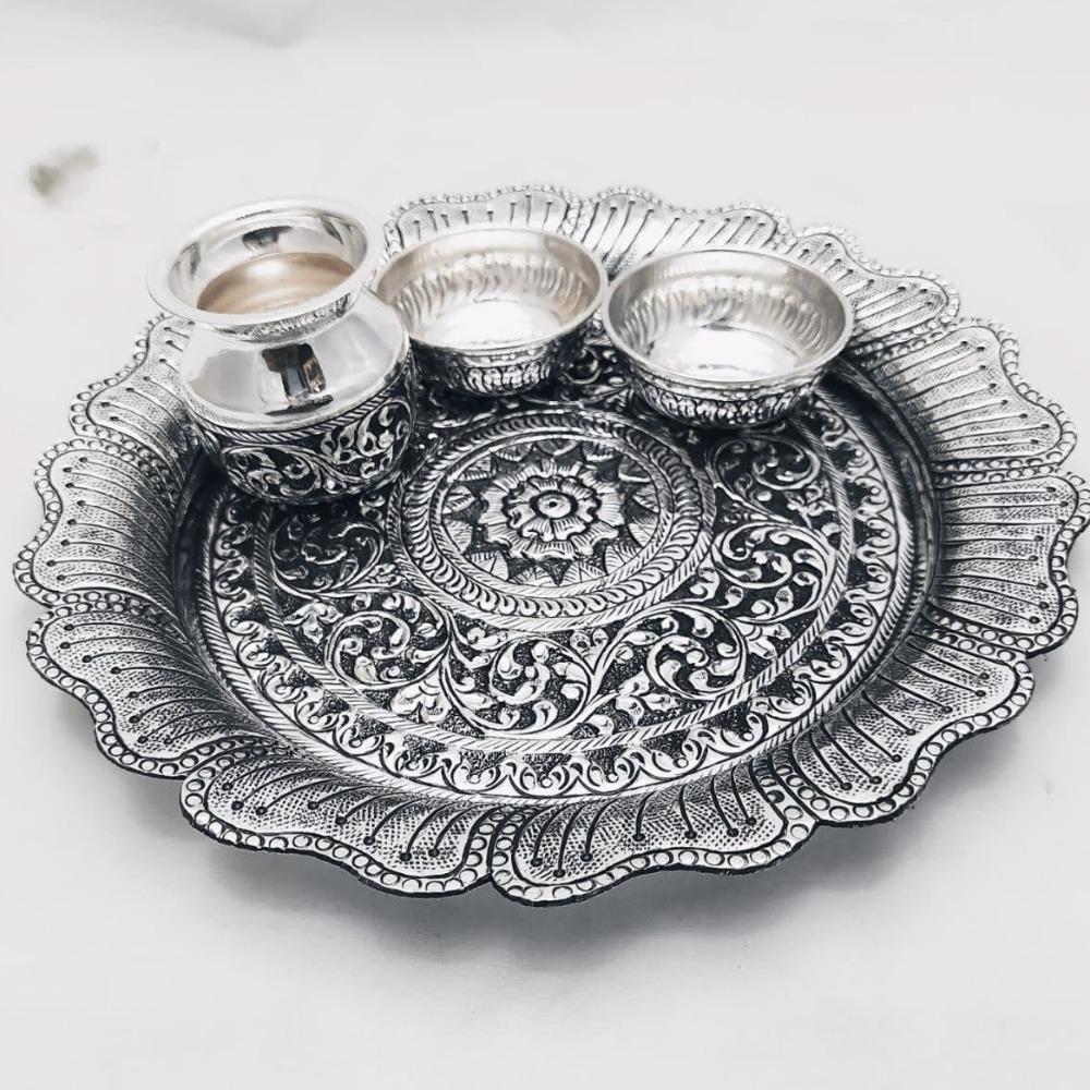 925 Pure Silver Antique Pooja Thali set PO-263-17