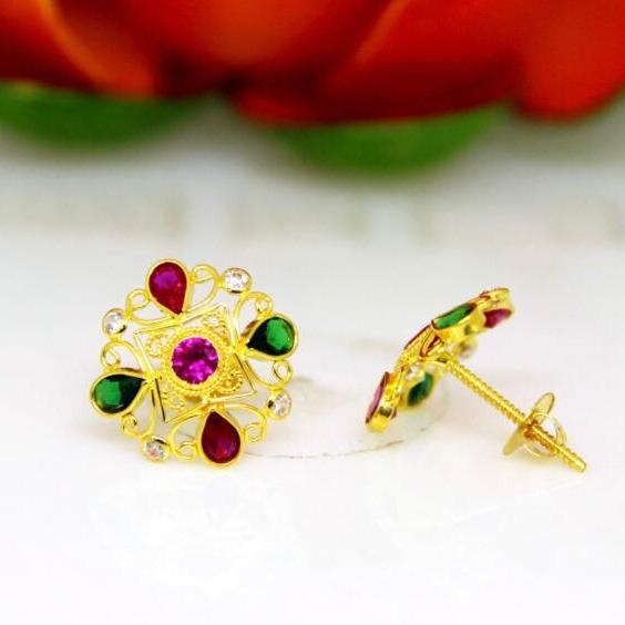 916 gold rajesthani earrings