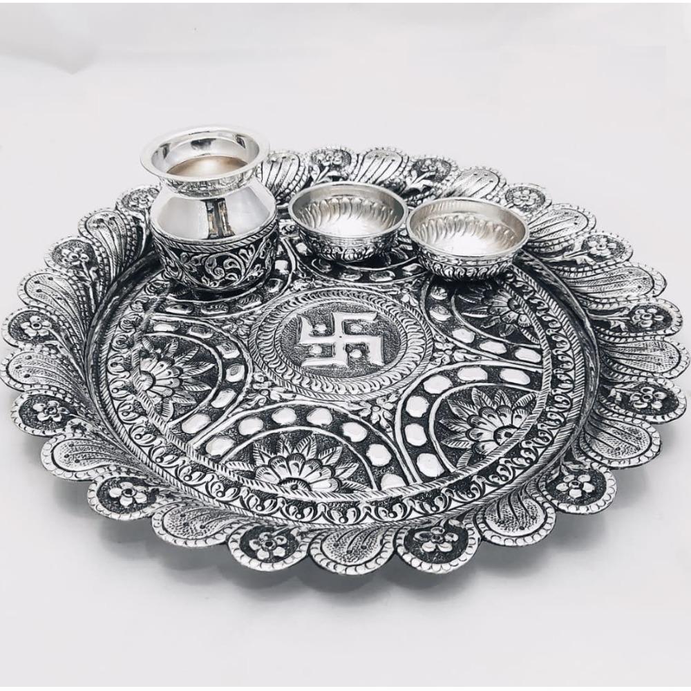 925 Pure Silver Antique Pooja Thali Set PO-263-24