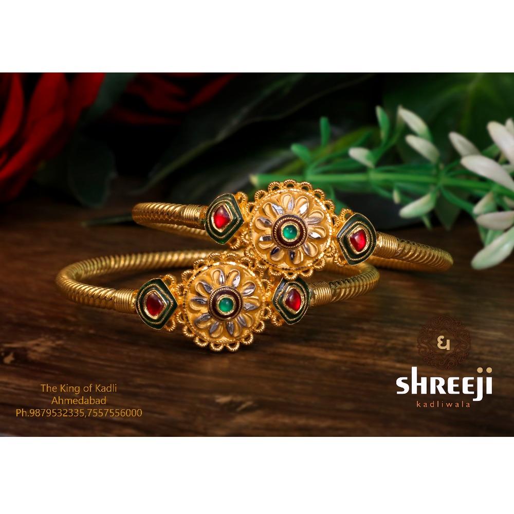 916 Gold Traditional Jadtar Copper Kadli - 0023
