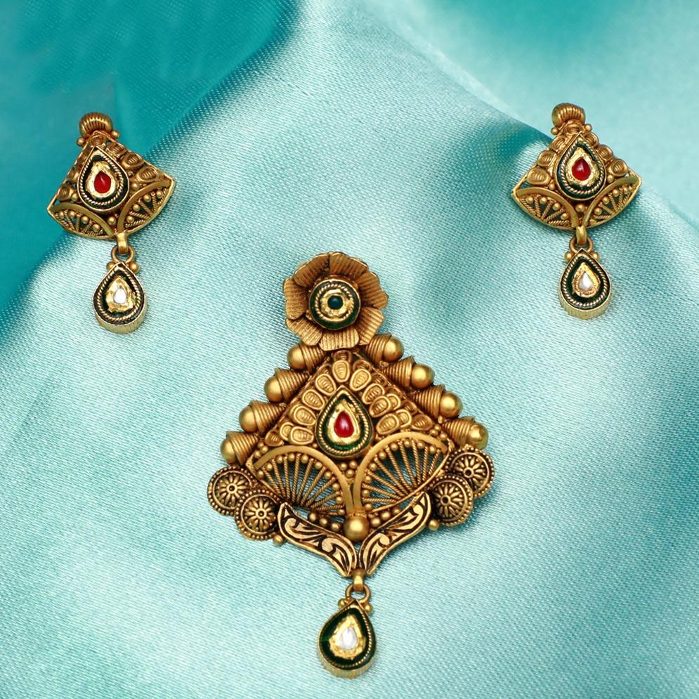 916 Gold Antique Bridal Pendant Set PJ-PS009