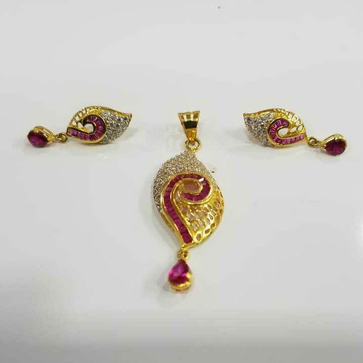 22KT Gold Fancy Pink Stone CZ Pendant Set