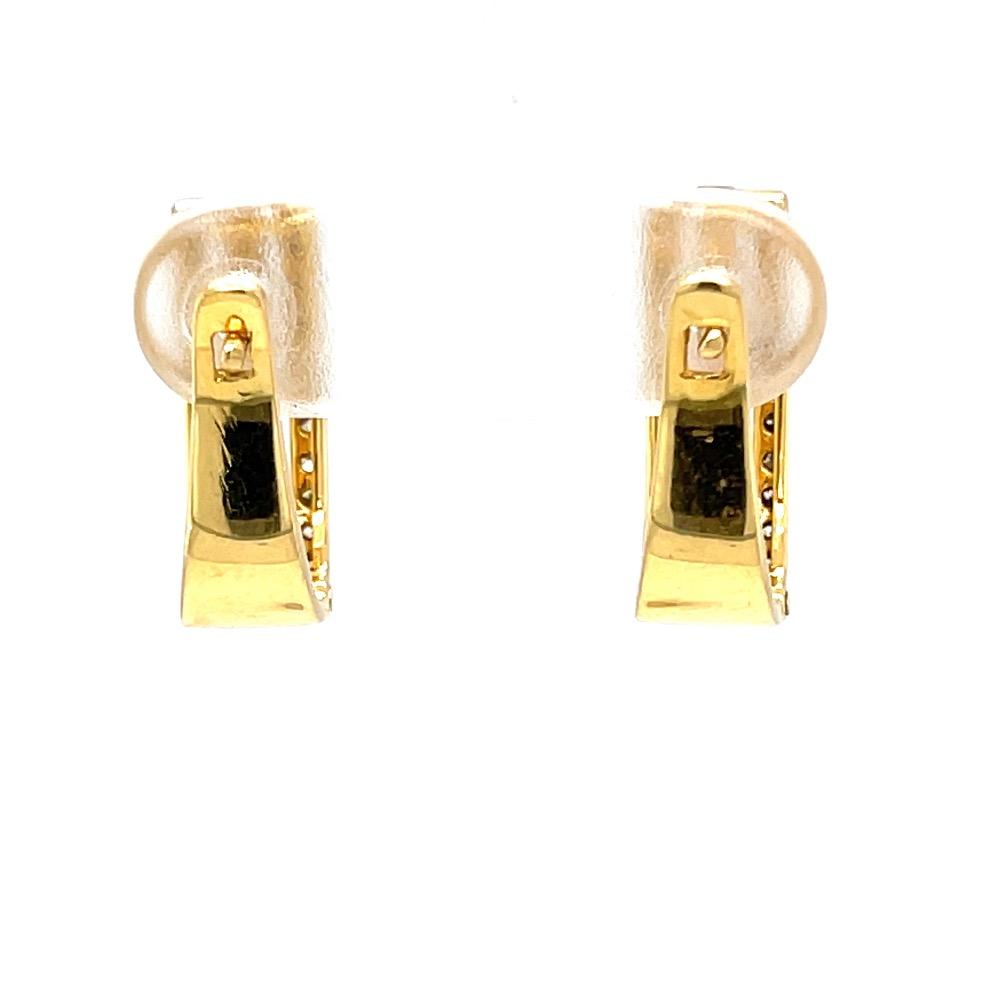 Three lines full ear loops in diamond & 18k hallmark gold 9top62