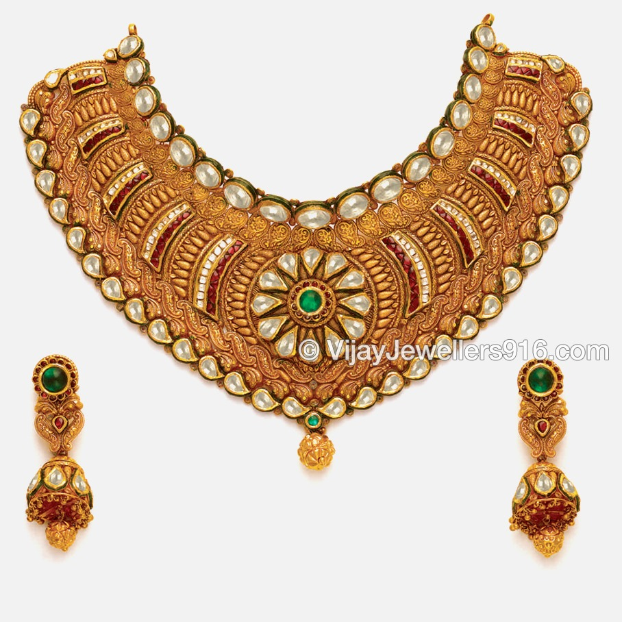Fancy 916 Gold Designer Choker Necklace Set