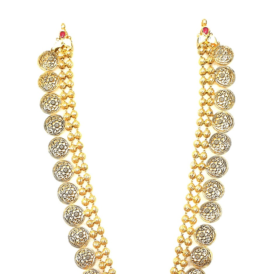 22k Gold Antique Oxidised Pavali Necklace MGA - GLS093