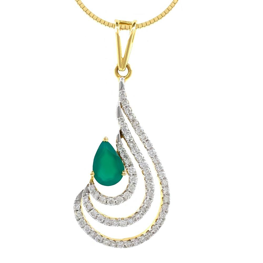 Green stone drop shape diamond pendant in 14k yellow gold 9shp24