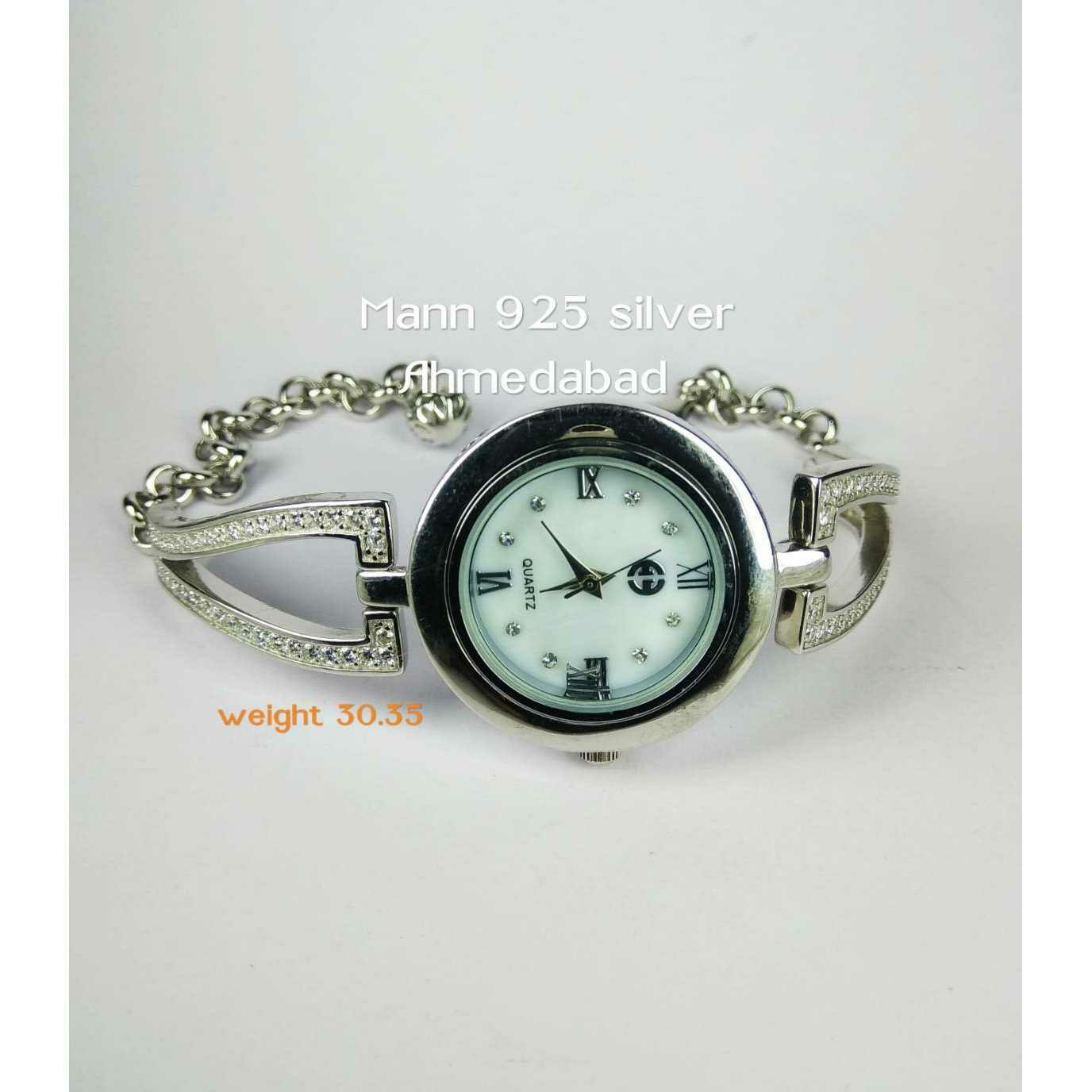 Fancy 925 Silver CZ Stone Ladies Watch