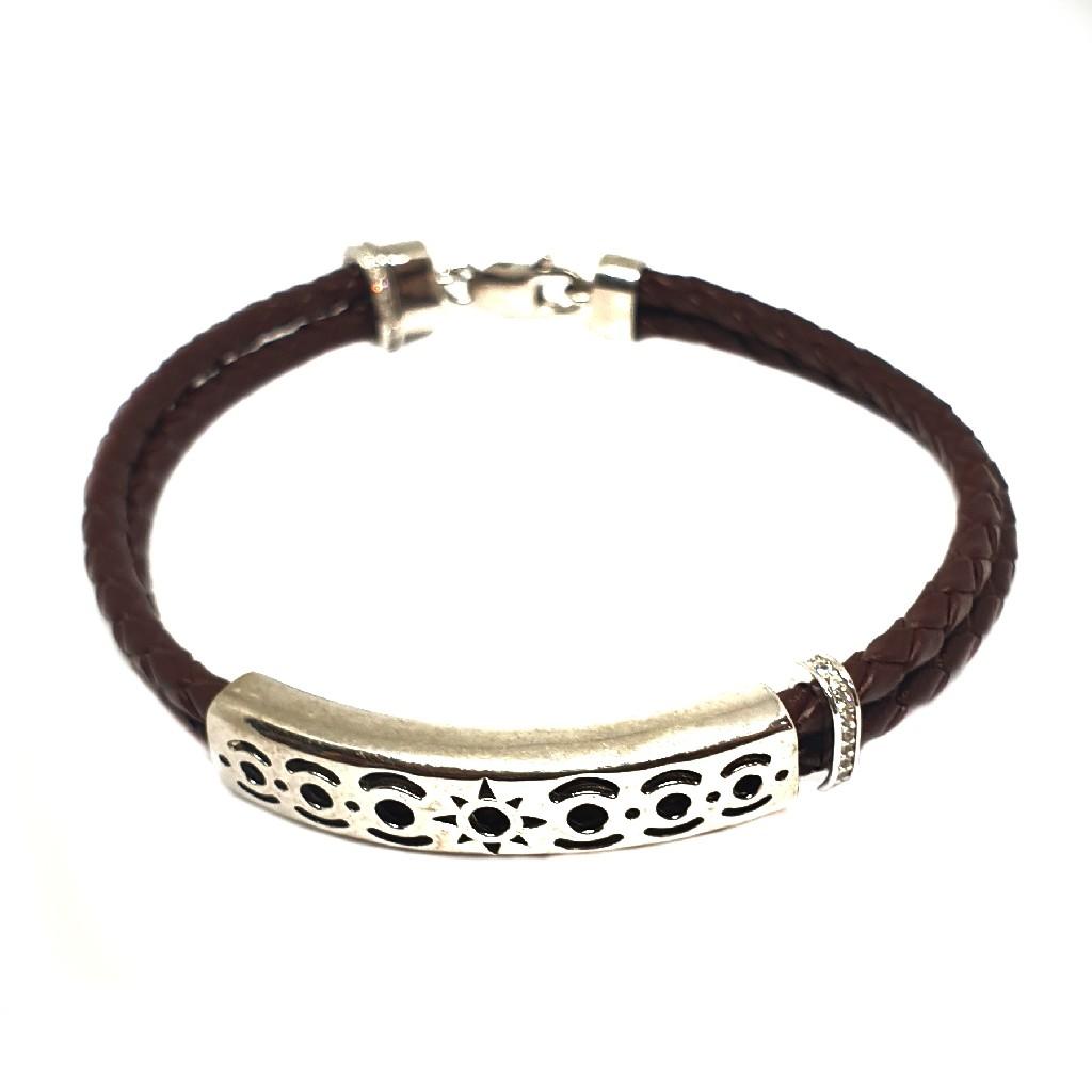 925 Sterling Silver Leather Belt Bracelet MGA - BRS1637