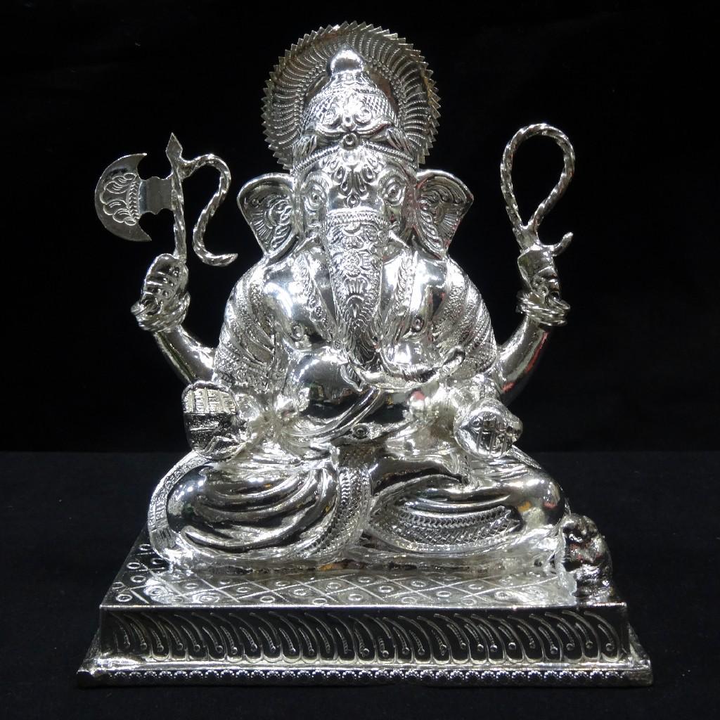 silver ganesh murti