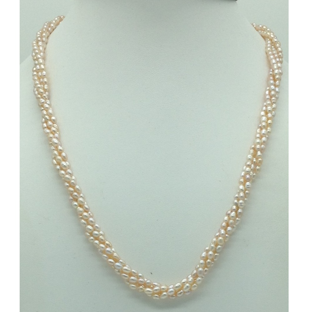 Freshwater Pink Rice 4 Lines Pearls Twisted Full Set JPP1060