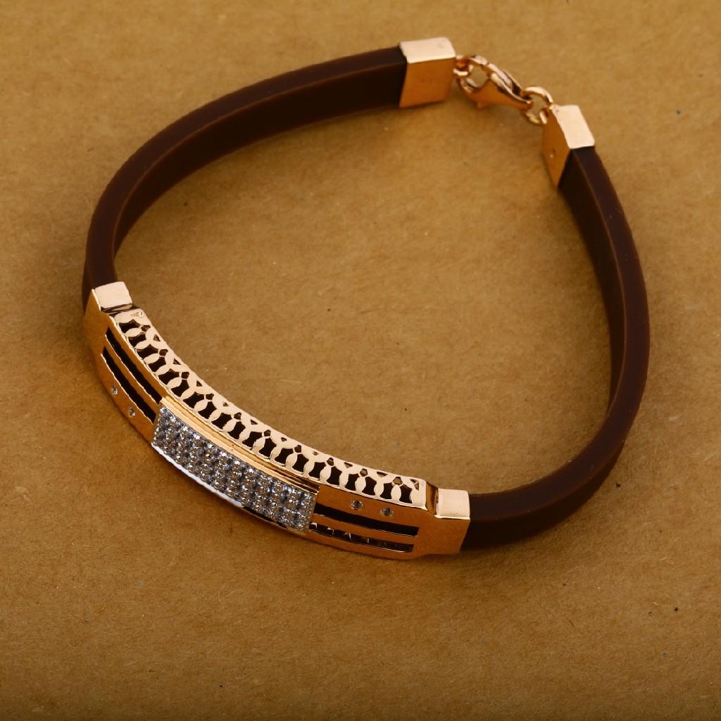 Mens Rose Gold 18K Cz Leather Bracelet-MLB20