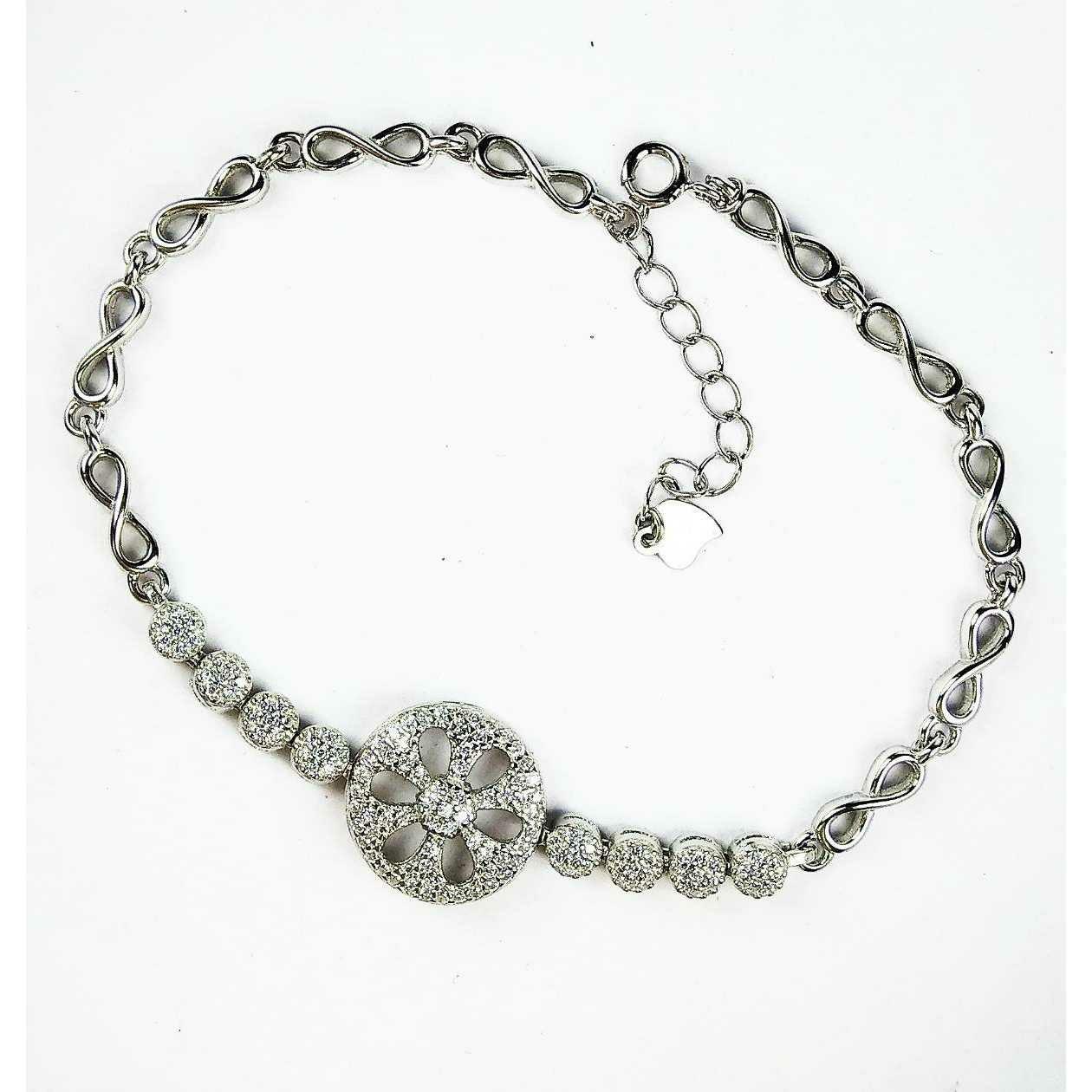 Fancy 925 Silver Ladies Bracelet With Flower