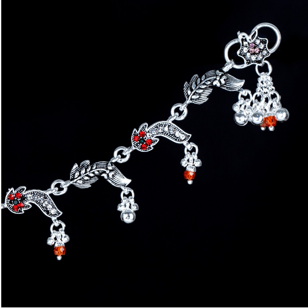 Silver Fancy Red Stone Payal