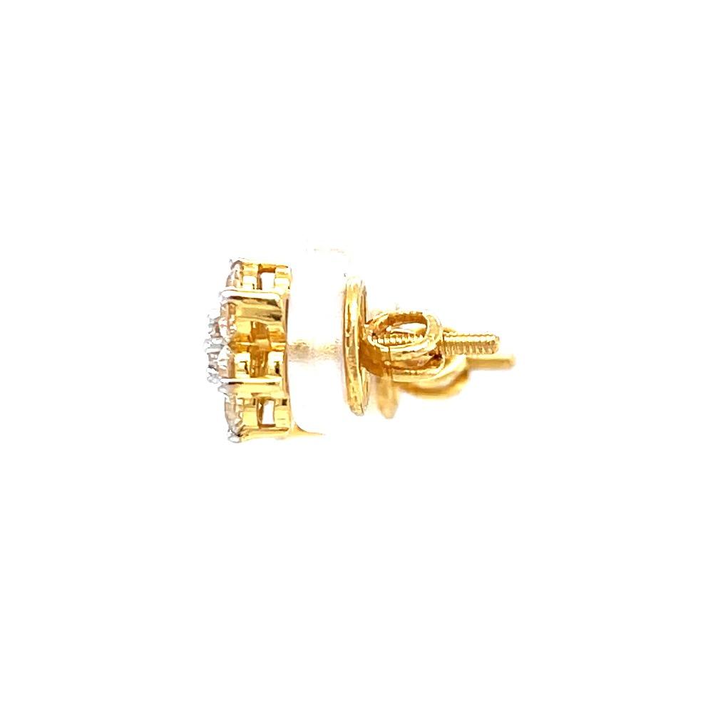 Seven diamond star stud in 18k hallmark yellow gold