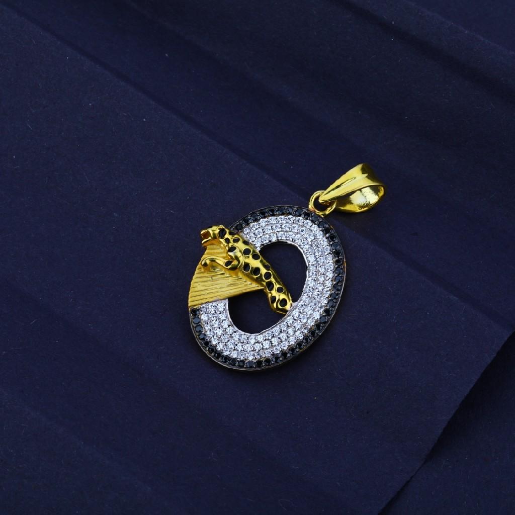 Men's Exclusive 916 Fancy Jaguar Round Gold Pendant-MFP10