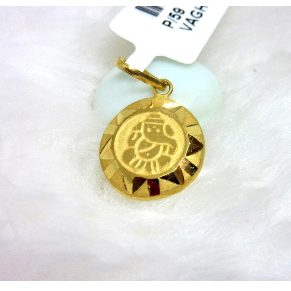 Gold Ganesha Pendent Round Shape
