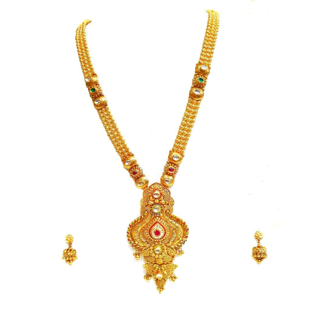 22k gold antique rajwadi necklace with jumar buti mga - gls064