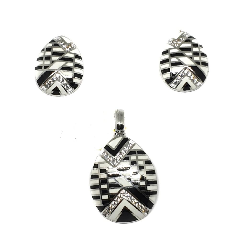 925 sterling silver black and white meenakari pendant set mga - pts0089